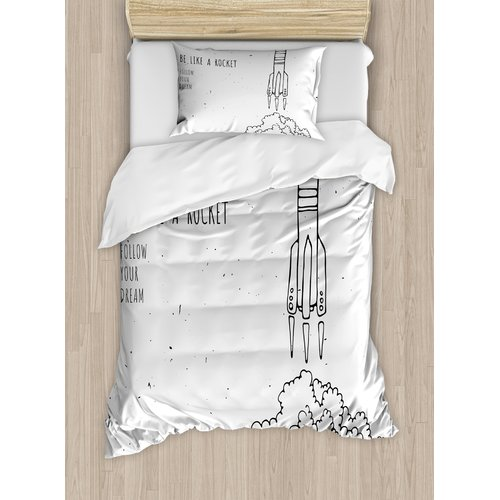 Ambesonne Kids Quote for Dream and Space Lovers Be Like Rocket Follow Your Dreams Inspiring Art Duvet Cover Set