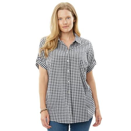 Checkered Seersucker (Woman Within Plus Size Button-tab Short Sleeve Button-down Seersucker)