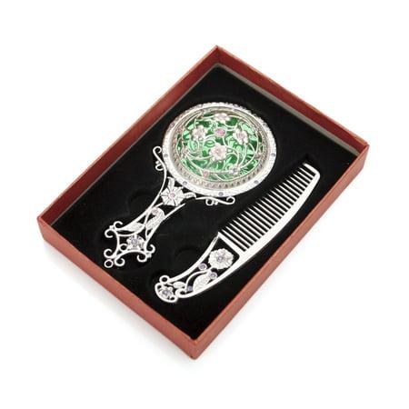 ALICE Silver Superb Antiqued Hand Mirror and Comb Set, Best Gift (Best Luckyfine Mirrors)
