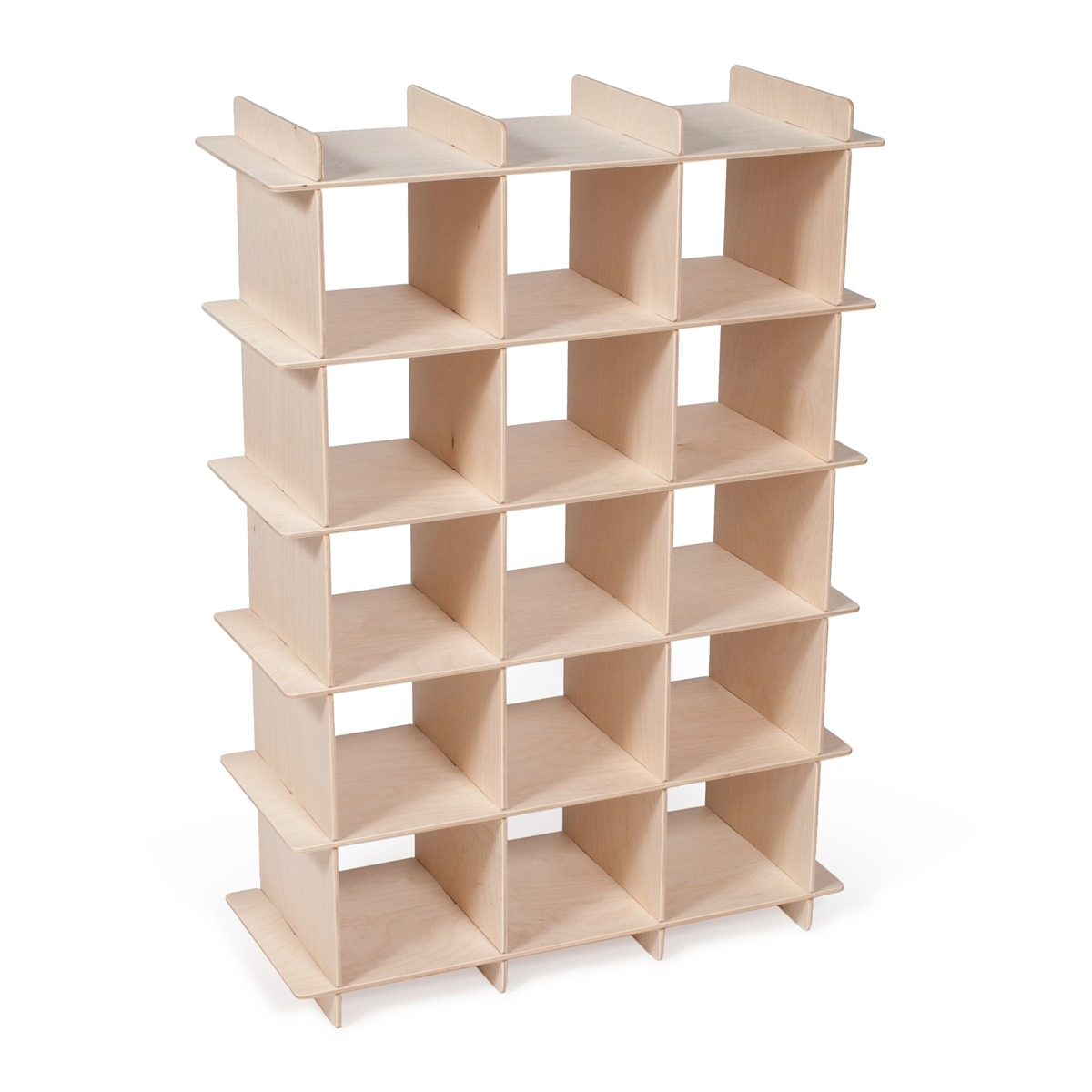 Modern Wood Shoe Storage Cubby - Birch Wood