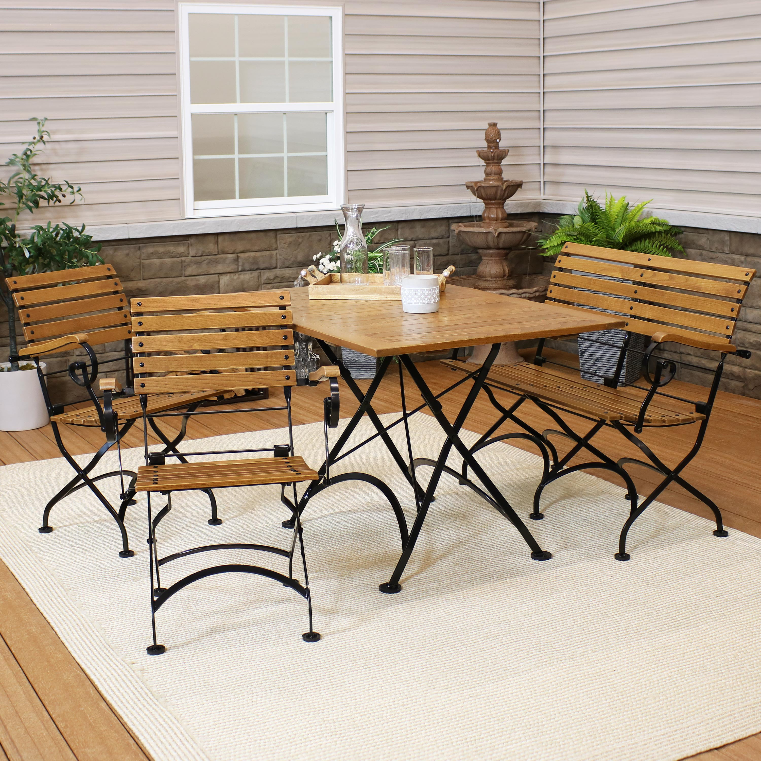 Picture of: 31 Inch Square Sunnydaze European Chestnut Wood Folding Square Bistro Table Portable Indoor Outdoor Foldable Table Perfect For Patio Kitchen Or Camp Site Bistro Tables