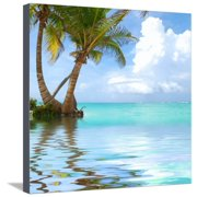 Beautiful Caribbean Beach in Dominican Republic. Reflection in Water. Stretched Canvas Print Wall Art By haveseen