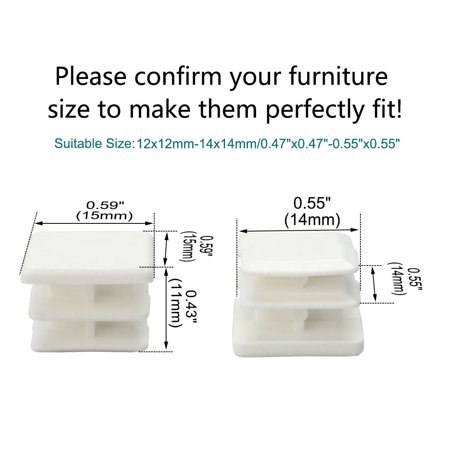 15 x 15mm Square Ribbed Tube Inserts Cap Furniture Legs Floor Protector 6pcs - image 2 de 7