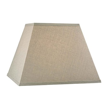 Upgradelights Beige Linen Square Mission Style 12 Inch Nickel Plated Washer Fitted Lampshade (6x12x10) ()