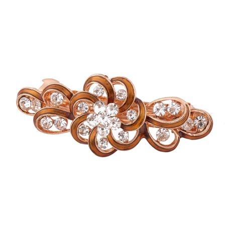 Lady Wedding Metal Floral Design Faux Rhinestone Headwear Hair Clip Clasp Brown ()