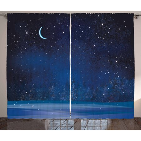 Winter Window (Night Curtains 2 Panels Set, Winter Wonderland at Night Snowy Woodland Magical Fantastic Forest Nature Scenery, Window Drapes for Living Room Bedroom, 108W X 108L Inches, Blue Indigo, by Ambesonne)