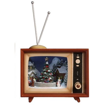 Pack Of 2 Icy Crystal Illuminated Musical Christmas Tv Box Figurines 9