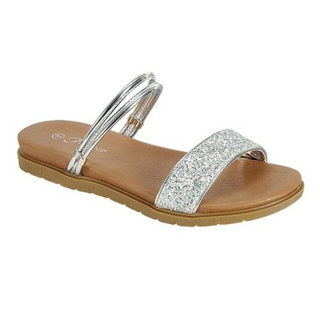 755ce3752eaa0d Forever FQ48 Women s Glitter Straps Flat Heel Sandals - Walmart.com