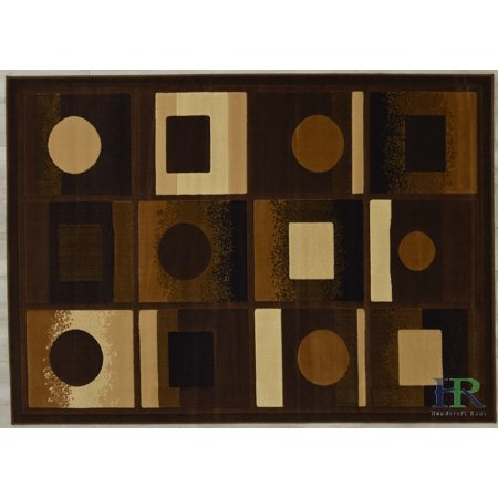 Handcraft Rugs - Brown, Beige, Ivory, Modern Rectangular Geometric Pattern Area Rug (Approximately 2 by 3 Doormat)