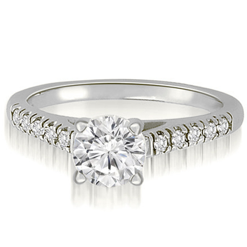 """0.50 cttw. 18K White Gold Cathedral Round Cut Diamond Engagement Ring (I1, H-I)"""