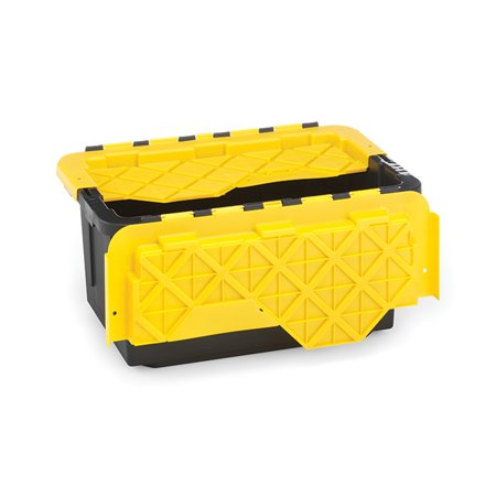Homz Durabilt® 15 Gallon Flip Lid Tough Container, Black Base with Yellow Lid, Set of 6