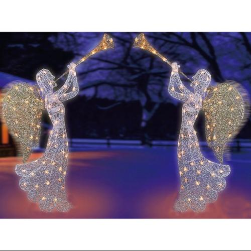 """Pack of 2 Lighted Glittered Gold and White Angel Yard Art Figures 72"""""""
