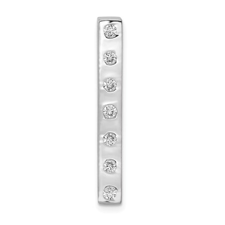KIOKORI 14K White Gold Diamond Fancy Bead Set Bar Chain Slide Pendant 1/4-Carat