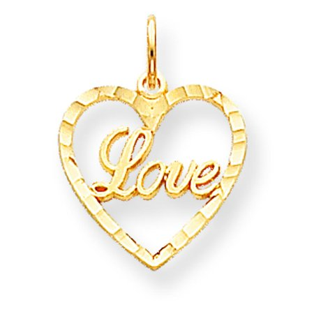 10K Yellow Gold Love in Heart Charm Pendant Jewelry Charm Pendant Love Jewelry