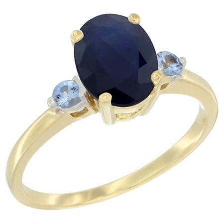 Ceylon Light Blue Sapphire (14K Yellow Gold Natural Diffused Ceylon Sapphire Ring Oval 9x7 mm Light Blue Sapphire Accent, size 6.5 )