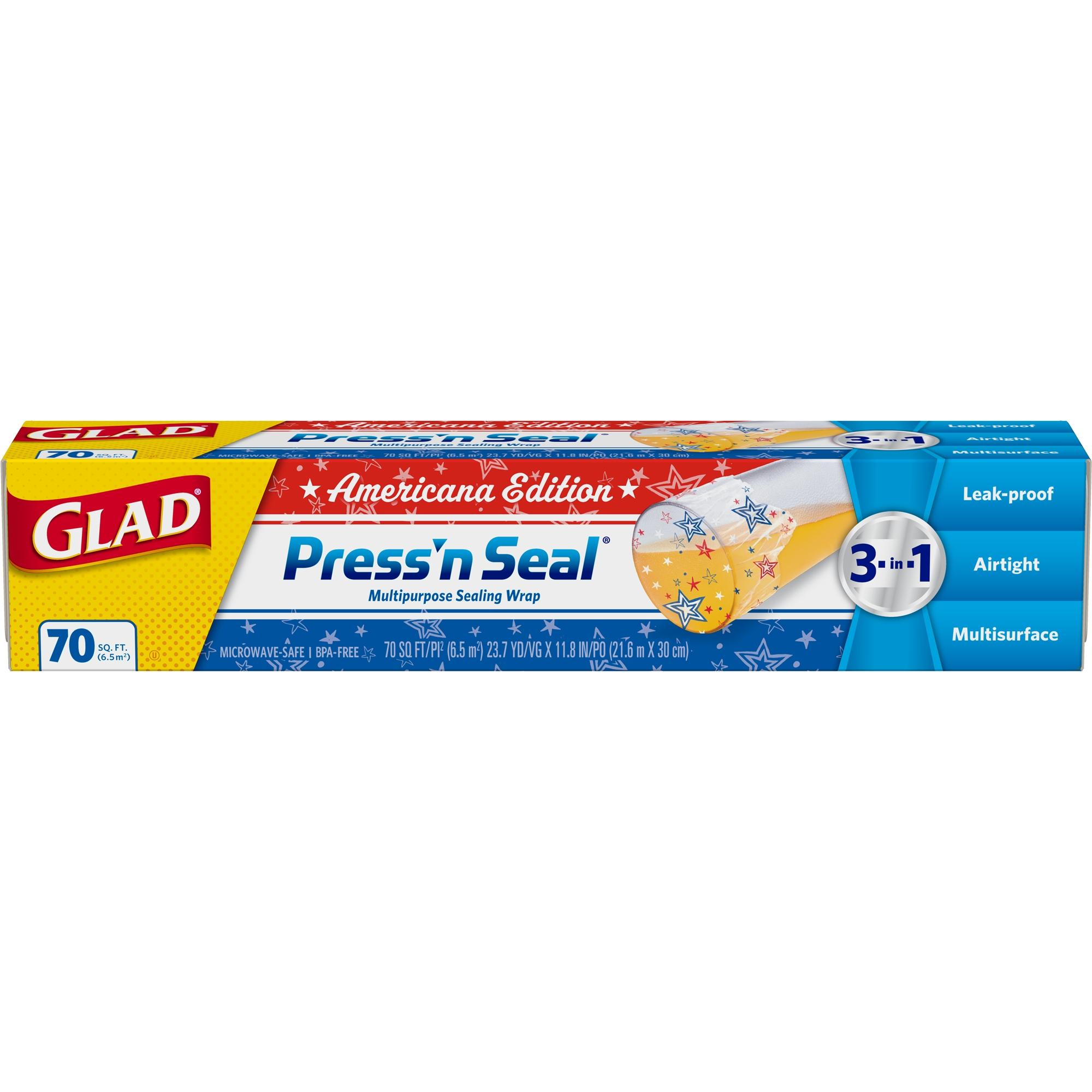 (3 pack) Glad Press'n Seal Food Plastic Wrap - 70 sq ft Roll