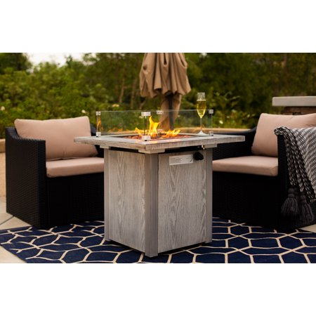 Barton 48,000 BTU Outdoor Propane Gas Fire Pit Table with Glass Wind Guard CSA Certification