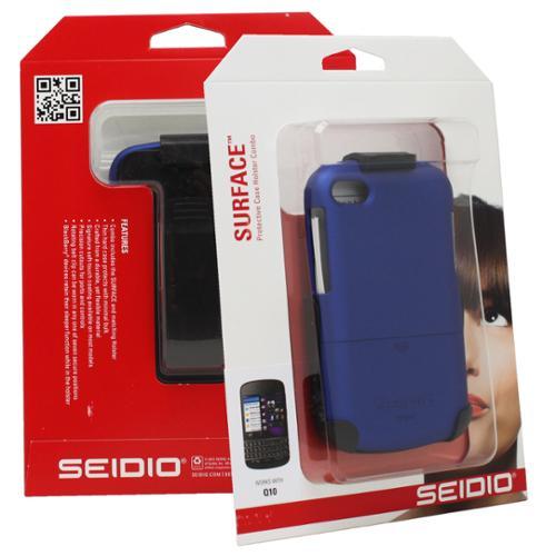 Seidio Surface Case Cover Skin Holster Belt Clip Combo for BlackBerry Q10 - Blue
