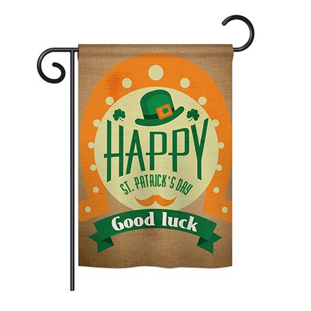 Ornament Collection - Good Luck St. Patrick's Day Spring - Seasonal St Patrick Impressions Decorative Vertical Garden Flag 13