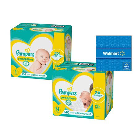 Diaper Trial Pack - [Save $15] Size N & Size 1 Pampers Swaddlers Diapers, Enormous Packs (Total 304 Diapers) + Free $15 Gift Card