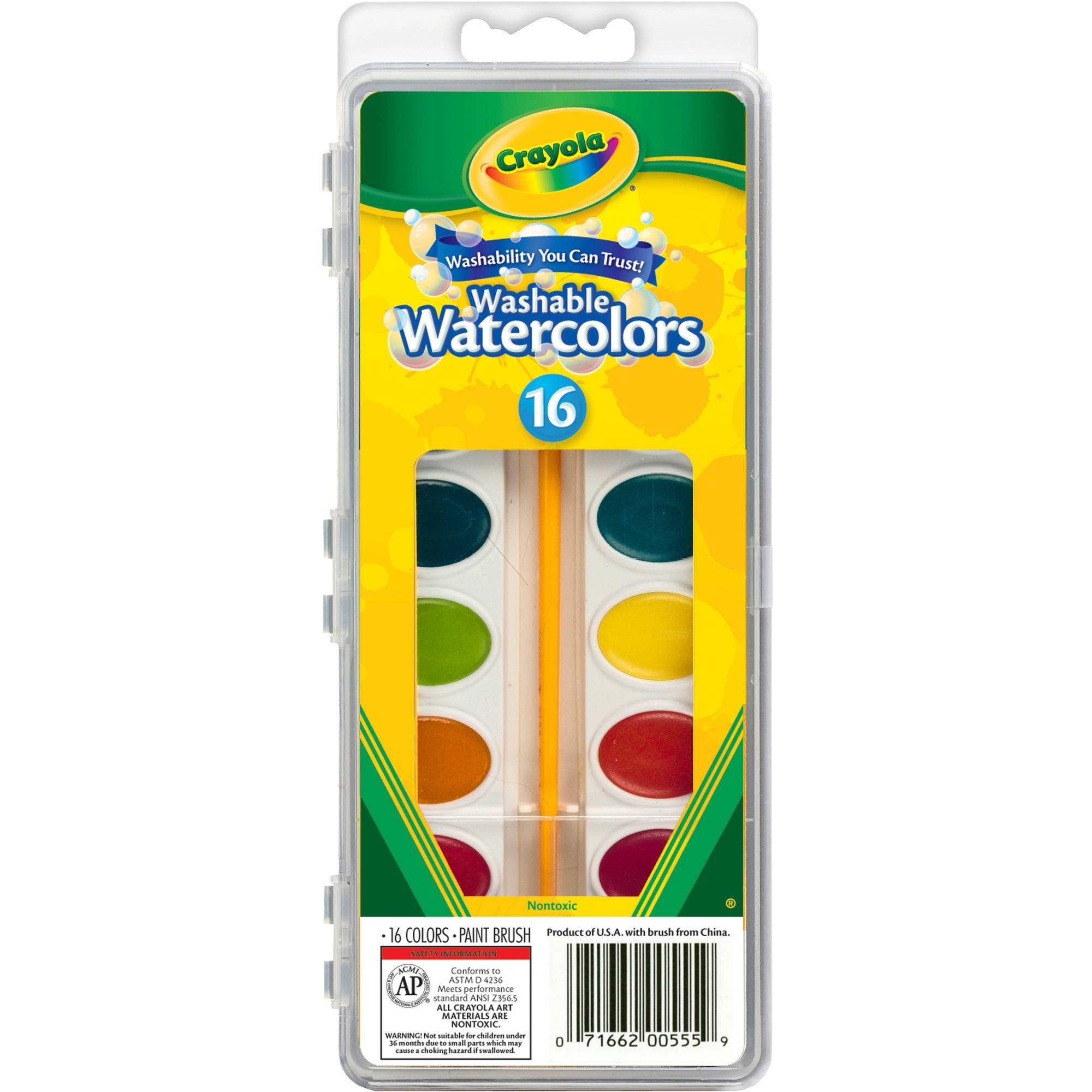 Crayola Washable Watercolors, 16-Pack