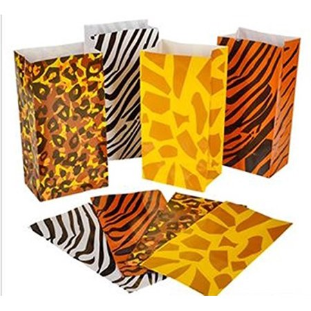 Printed Gift Bags (Wild zoo safari Animal print gift and goody bags - 36 pc by, 36 bags per order By happy)