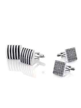 2 Pairs High Quality Classic Cufflinks Cuff Links Silver Formal Shirt Square