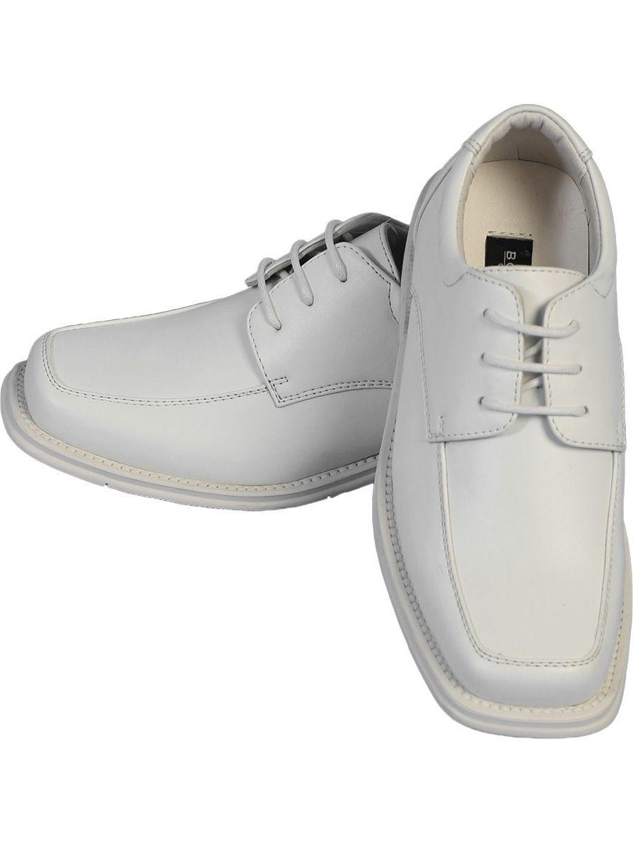 Angels Garment Little Boys White Lace Up Classic Dress Shoes