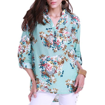 Fashion V-neck Printed Beach Evening Party Comfy Blouses for Women