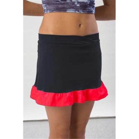 Pizzazz 7200 -BLKRED-AM 7200 Adult Ruffled Skirt with Boys Cut Brief, Black with Red - Medium - image 1 of 1