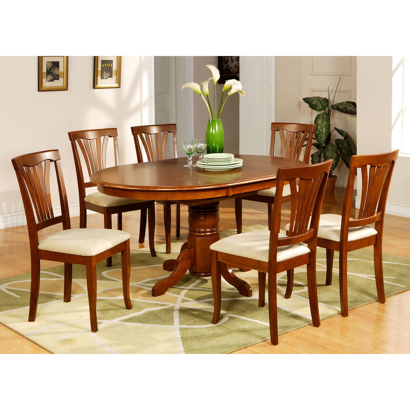 Charmant East West Furniture Avon 5 Piece Pedestal Oval Dining Table Set With  Microfiber Seat Chairs   Walmart.com