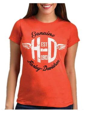 085bfa9eaa3eb Product Image Harley-Davidson Women's Rise Of The Wings Embroidered Short  Sleeve Tee - Orange, Harley