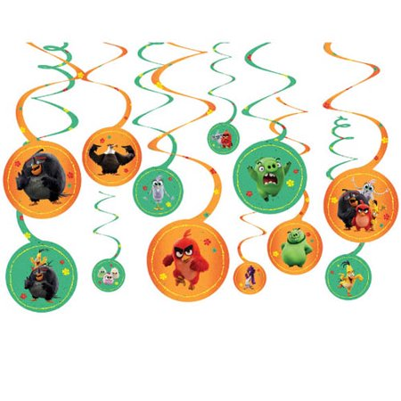 Angry Birds 2 Hanging Swirl Decorations (12pc)