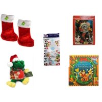 """Christmas Fun Gift Bundle [5 Piece] - Be Jolly Premium Red Faux Fur Stocking 18.5"""" Set of 2 - Vintage Designed Stocking Hanger Mouse - Party Expressions Plastic Table cover 54"""" x 108"""" Rectangle -  S"""