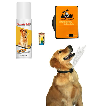 NO BARK Collar Citronella Spray Anti-Bark collar for Dogs Kit - Safe, Effective, and Humane Dog Barking Control collar (Dog Citronella Collar)