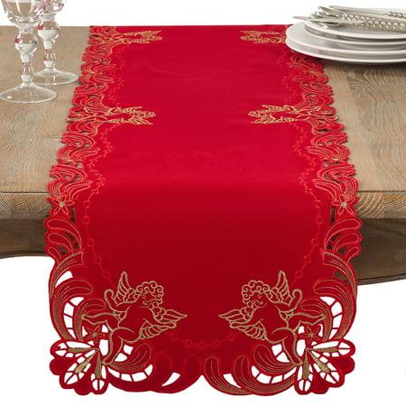 Saro Lifestyle Embroidered Angel Cherub Design Christmas Table Runner ()