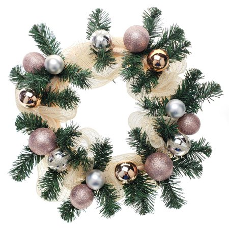 Decorated Mesh Ribbon & Rose Gold Spheres Christmas Wreath, Green/Gold, 21-Inch ()