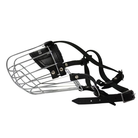 Wire Cage & Leather Muzzle (Miami). Size 10 Black. 15.5