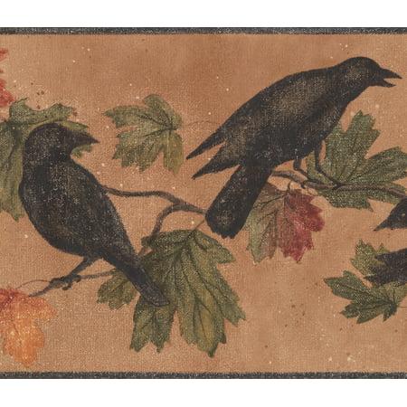 Black Birds on Branch Green Yellow Red Leaves Dark Orange Vintage Wallpaper Border Retro Design, Roll 15' x 9 - image 3 de 3