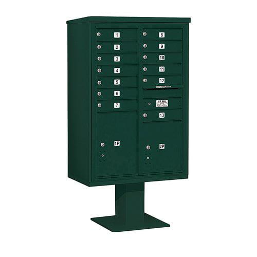 SALSBURY INDUSTRIES 3413D-13GRN Pedestal Mailbox,15 Doors,Green,63-1/4in