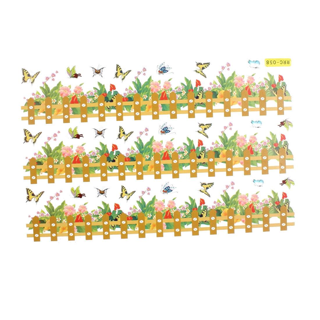 Flower Butterfly Rail Fence Pattern Decor Paper Foam Made Wall Sticker Decal