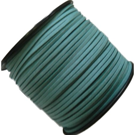 Turquoise Blue Micro Fiber Faux Suede 3mm 90 Yard Spool Flat Lace Beading Craft Cord
