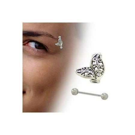 Sterling Silver Unique Design Eyebrow Shield with Barbell (8mm) Silver Design Shield