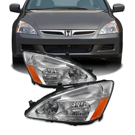 Fits 03-07 Honda Accord Amber Chrome Clear Headlights Headlamps Assembly - Honda Passport Headlight Headlamp