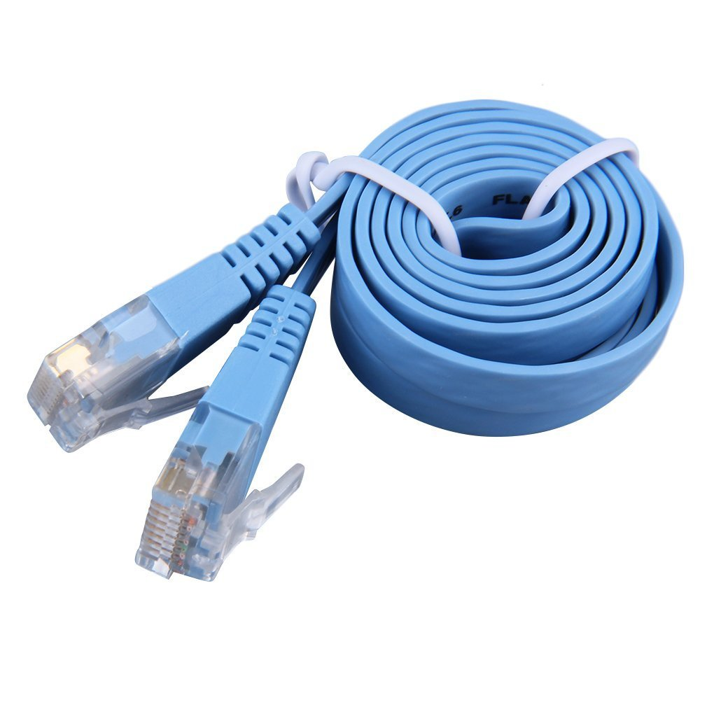 RJ45 CAT6 8P8C Flat Ethernet Patch, Network Lan Cable 1m Cable Portable Lan Cable Durable Home Parvicostellae