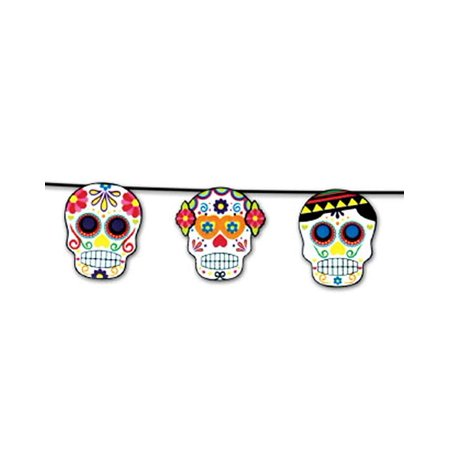 Dia de los Muertos Party Garland Sugar Skulls Day of The Dead Chain Decoration (Crochet Halloween Garland)