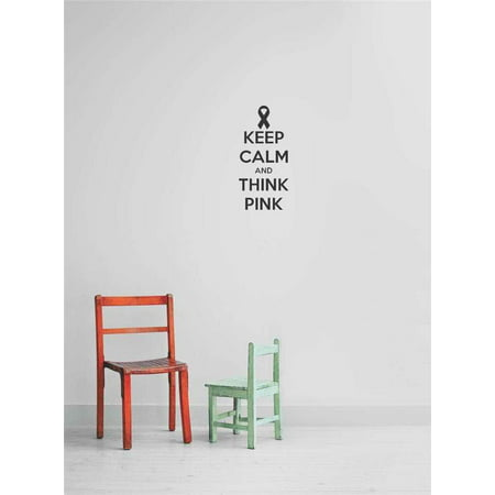 Breast Cancer Decor (Custom Wall Decal s & Stickers : Keep Calm And Think Pink Breast Cancer Ribbon)