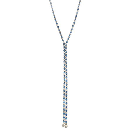 X & O Rhodium Plated single row X-shape necklace in Sapphire and White Crystal Combination -