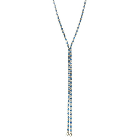 X & O Rhodium Plated single row X-shape necklace in Sapphire and White Crystal Combination *** ()