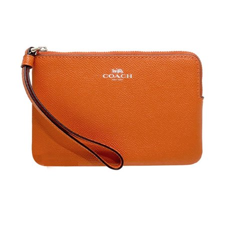 NWT COACH Corner Zip Wristlet Wallet Card Case Pouch Dark Orange Silver F58032 ()